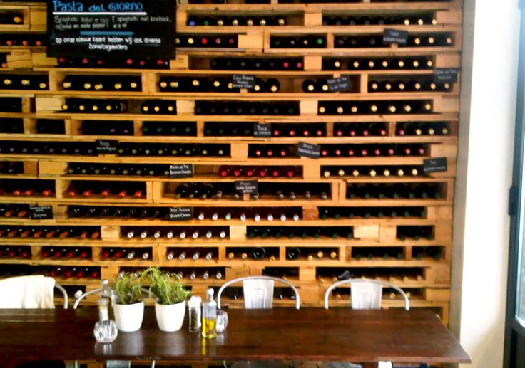 Reclaimed Pallets as wine holders