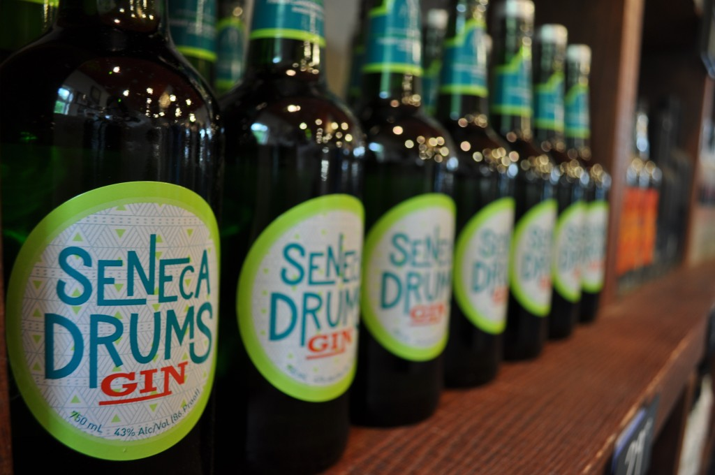 Display of Seneca Drums Gin.