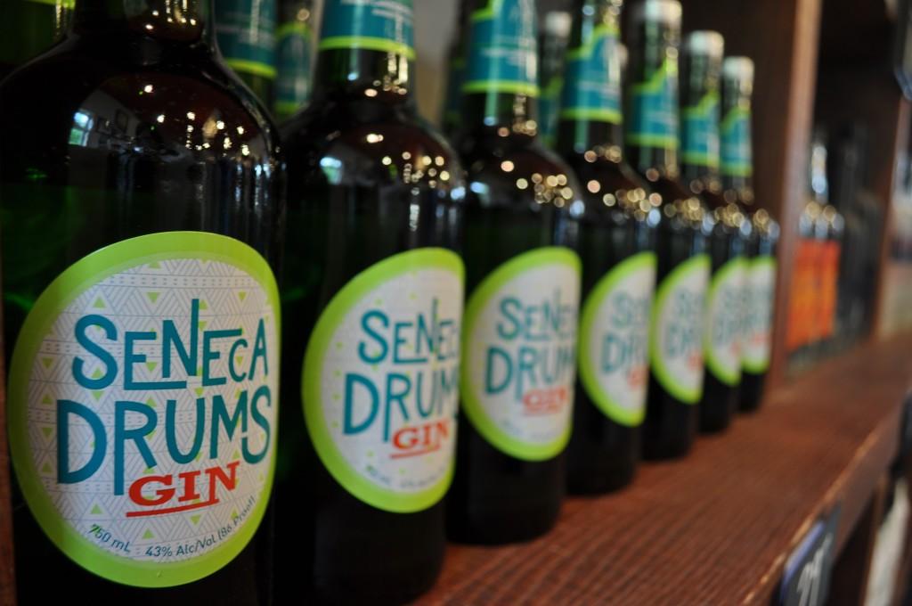 Display of Seneca Drums Gin.